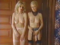 Hot blondes in stockings and garters do threesome tubes