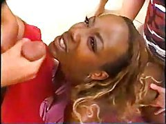 Black cock whore in a gangbang tubes