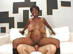 Black slut Stacey Adams does it with a white guy tubes