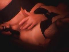 Fishnets girl masturbating and toying tubes