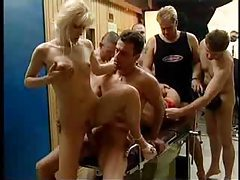 Five men and two sluts in gangbang tubes