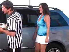 Slutty soccer mom fucked in minivan tube