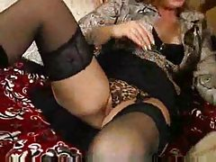 Sexy black lingerie and boots on horny mom tube