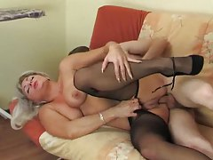 Drilling mom with his stiff cock tube