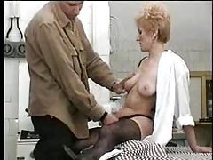 Mother with hairy pussy gets young meat tubes