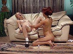 Pretty blonde coed has lesbian sex tubes