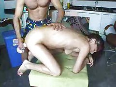 Stuffing his GF with a giant dildo tubes