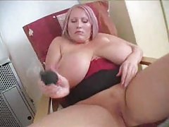 Girl with big tits using suction cup tubes