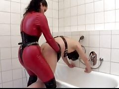 German strapon goddess fucks her slave tubes