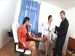 He bangs his two office babes tubes