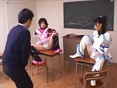 Cosplay Japanese girls in the classroom tubes