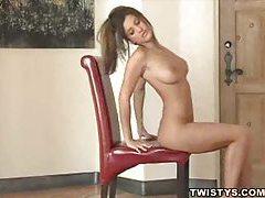 Sensual solo play where she rubs her body tubes