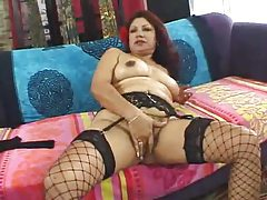 Mature Latina plugged in hairy pussy tubes