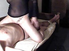Rubbing her pussy all over his cock tubes