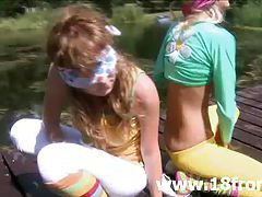 Petite 18yo teens teasing outdoors tubes