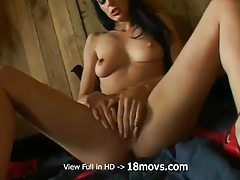 Caresses pussy with fingers and dildo tubes