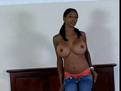 Black chick with really big oiled up tits fucking tube