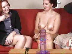 Girls play a strip game and show body tubes