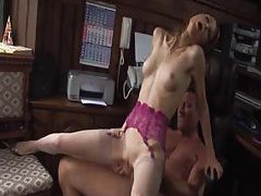 Skinny bitch in stockings fucked in cunt tubes