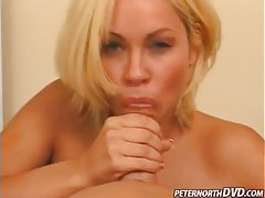 Cum splatters on her face after a BJ tubes