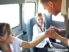 Schoolgirls on the bus share his big cock tube