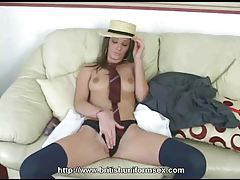 Sarah Strips Out Of Her School Uniform tubes