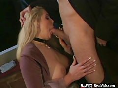 Busty blonde blowing cock before fucking tube