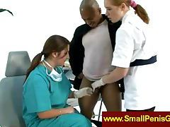 Nurses jerking a small penis tubes