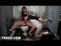 Busty tranny fucks handcuffed guy in toilet tubes