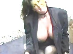 Girl with really big tits fucked in storage room tubes