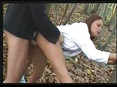 Hottie gives BJ and fucks in the woods tubes