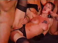 Girl in black satin gloves fucked by four guys tubes