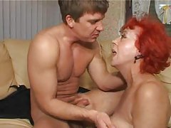 Mature redhead rammed in her asshole tubes