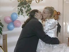 Bride in glasses has cock in her ass tubes