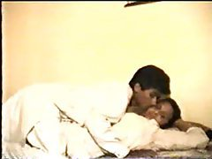 Indian couple fooling around in the bed tube