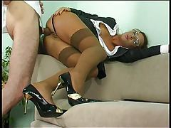 Clothed business girl fucked up the ass tubes