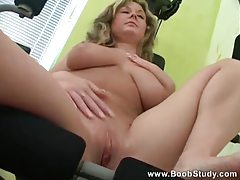 Big breasted girl working out and rubbing tubes