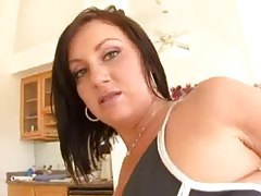 Girl models ass in shiny pants and does anal tubes