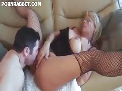 Slut in ripped fishnets tries it all tubes