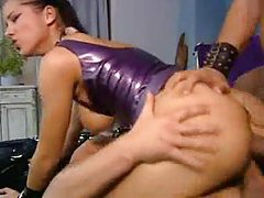 Arousing rubber and leather threesome tubes