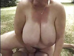French fatty riding dick in the grass tube