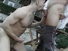 Outdoor gay cocksucking ends with a facial tubes