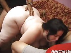 Fat bitch dines on two black dicks tubes