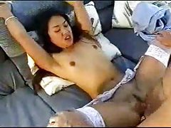 Slutty Asian in white stockings likes dick in ass tubes