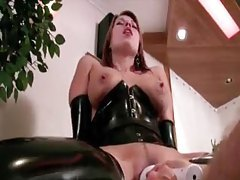 Latex fetish sex fun with deep toy sex tubes