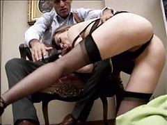 Dude pulls out his cock and fucks slut in hot stockings tubes
