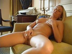Cute blonde girl masturbating in hotel room tubes
