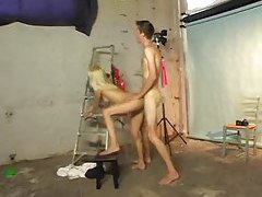 Blonde with tight body fucked in photo studio tubes