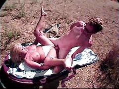 Blonde suck and fuck on a blanket in the dirt tubes