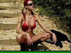 Super perky tits on his outdoor bikini slut tubes